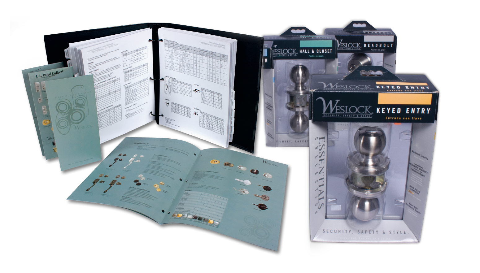 Weslock marketing materials and product catalog, packaging
