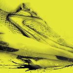 Grunge, textured athletic shoe illustration on yellow background