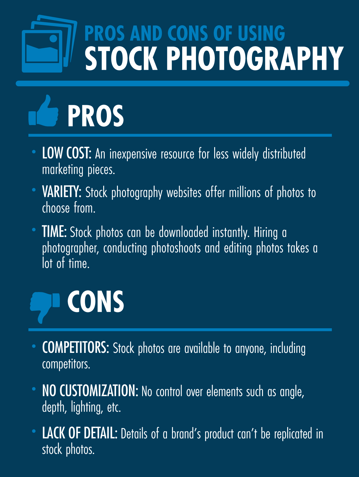 Infographic - pros and cons of stock photography