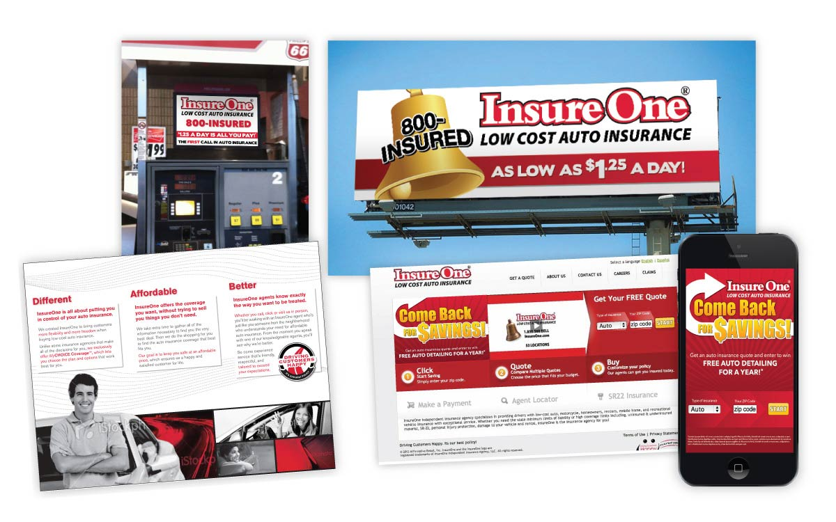 InsureOne - Outdoor, Digital, and print collateral