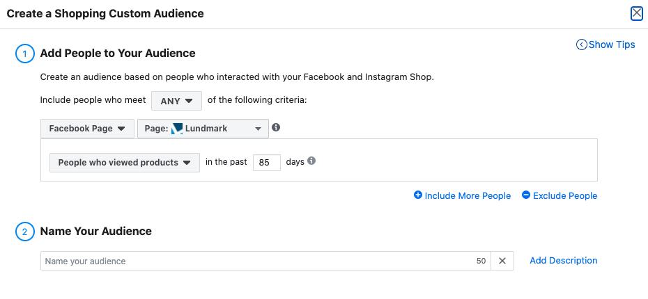 Updates to Facebook Custom Audience - Screen 2